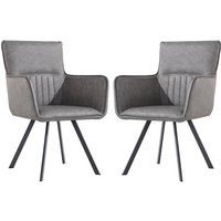 Product photograph showing Gilbert Grey Faux Leather Carver Dining Chairs In Pair