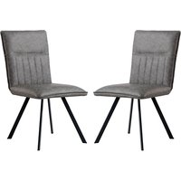 Product photograph showing Gilbert Grey Faux Leather Dining Chairs In Pair