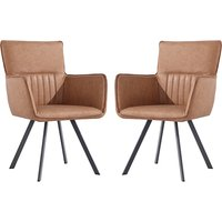 Product photograph showing Gilbert Tan Faux Leather Carver Dining Chairs In Pair