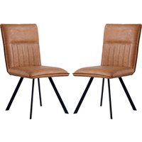 Product photograph showing Gilbert Tan Faux Leather Dining Chairs In Pair