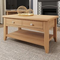 Product photograph showing Gilford Wooden 2 Drawers Coffee Table In Light Oak