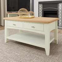Product photograph showing Gilford Wooden 2 Drawers Coffee Table In White
