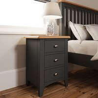 Gilford Wooden 3 Drawers Bedside Cabinet In Grey