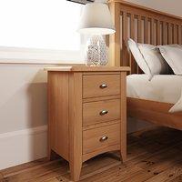Gilford Wooden 3 Drawers Bedside Cabinet In Light Oak