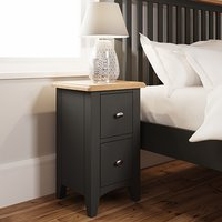 Gilford Wooden 2 Drawers Bedside Cabinet In Grey