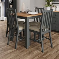 Product photograph showing Gilford Square Dining Table In Grey With 4 Chairs