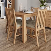 Product photograph showing Gilford Square Dining Table In Light Oak With 4 Chairs