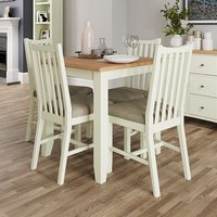 Product photograph showing Gilford Square Dining Table In White With 4 Chairs