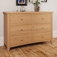 Product photograph showing Gilford Wide Wooden Chest Of 6 Drawers In Light Oak