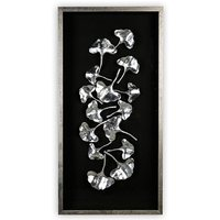 Product photograph showing Ginkgo Silver Painting Wooden Wall Art In Black Frame