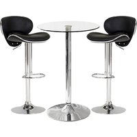 Product photograph showing Gino Bistro Bar Table With 2 Black Leather Nigella Stools