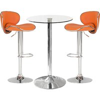 Product photograph showing Gino Bistro Bar Table With 2 Orange Leather Nigella Stools