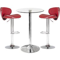 Product photograph showing Gino Bistro Bar Table With 2 Red Leather Nigella Stools