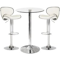 Gino Bistro Bar Table With 2 White Leather Nigella Stools