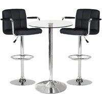 Gino Bistro Glass Bar Table With 2 Black Miami Bar Stools