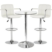Gino Bistro Glass Bar Table With 2 White Miami Bar Stools