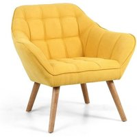 image-Giselle Fabric Bedroom Chair In Yellow With Wooden Legs