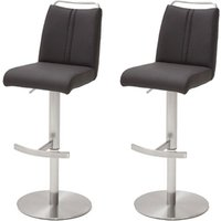 Giulia Anthracite Bar Stool With Stainless Steel Base In Pair