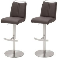 Giulia Brown Leather Bar Stool With Steel Base In Pair