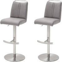 Giulia Ice Grey Bar Stool With Stainless Steel Base In Pair