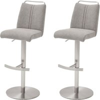 Giulia Ice Grey Fabric Bar Stool In Pair With Steel Base