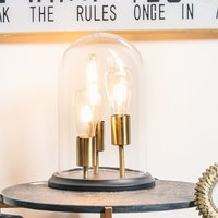 Product photograph showing Glair Vintage Mirrored Triple Glow Table Lamp In Black And Brass