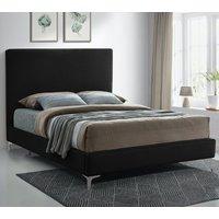 Glenmoore Plush Velvet Upholstered Single Bed In Black