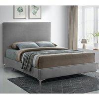 Glenmoore Plush Velvet Upholstered Single Bed In Steel