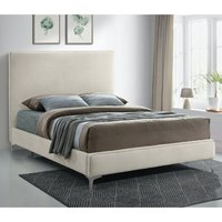 Product photograph showing Glenmoore Plush Velvet Upholstered Small Double Bed In Cream