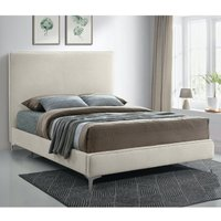 Product photograph showing Glenmoore Plush Velvet Upholstered Super King Size Bed In Cream