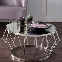 Product photograph showing Gloas Mirrored Coffee Table With Nickel Frame