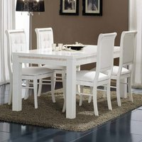 Gloria Crystal Details Gloss White Large Dining Table 6 Chairs