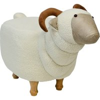Product photograph showing Goat Shaped Pouffe In White Finish
