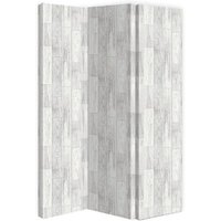 Product photograph showing Gosselin Canvas Room Divider Screen In Distressed Wood Design