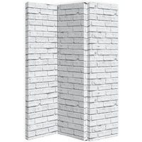 Product photograph showing Gossette Canvas Room Divider Screen In White Brick Design