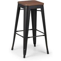 Grafton Backless Bar Stool In Mocha Elm With Satin Black Legs