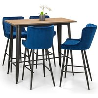 Grafton Bar Table In Mocha Elm With 4 Luxe Blue Bar Stool