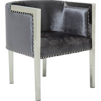 Product photograph showing Granada Modern Accent Chair In Charcoal Velvet With Metal Legs