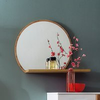 Product photograph showing Granada Round Wall Mirror With Shelf In Walnut