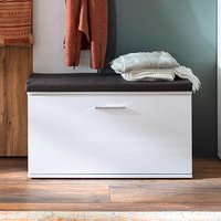 Product photograph showing Granada Wooden Shoe Storage Bench In White High Gloss