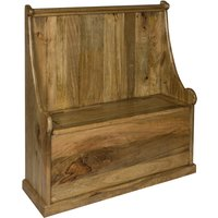 Product photograph showing Granary Monks Wooden Hallway Storage Bench In Oak Ish