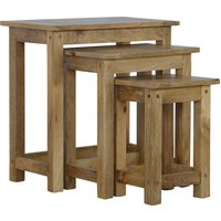 Granary Wooden Set of 3 Nesting Tables In Natural Oak Ish