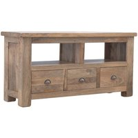 Product photograph showing Granary Wooden Tv Stand In Oak Ish With 3 Drawers
