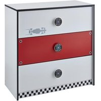 Product photograph showing Grand Prix Childrens Chest Of Drawers In Red And White