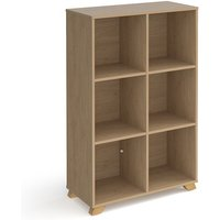 Product photograph showing Grange High Wooden Shelving Unit In Kendal Oak And 6 Shelves