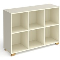 Grange Low Wooden Shelving Unit In White And 6 Shelves