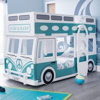 Product photograph showing Grasty Campervan Style Kids Bunk Bed In White And Blue