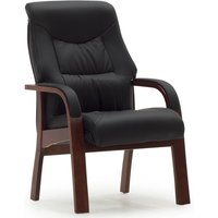 Product photograph showing Greeba Accent Chair In Black Faux Leather With Wooden Legs
