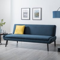Product photograph showing Greensburg Linen Fabric Sofabed In Blue With Black Tapered Legs