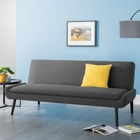Product photograph showing Greensburg Linen Fabric Sofabed In Grey With Black Tapered Legs